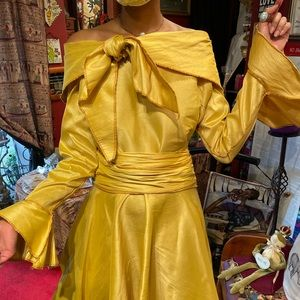 Dupioni Silk Drop Waisted Dress with long sleeves